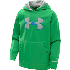 NWT Under Armour Boys Fleece Storm Big Logo Hoodie Astro Green YXL Youth X-Large