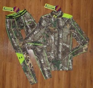 NWT Men's UNDER ARMOUR Camo Infrared Scent Control EVO Mock Shirt Pants Small