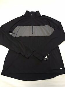 Womens CHAMPION Black Performance Running The Trainer 14 Zip Shirt Sz XL NEW NW