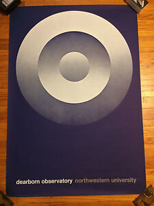 Vtg 60s Poster Dearborn Observatory Mid Century Modern Graphic Design Art Chicag