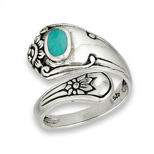 Open Turquoise Unique Vintage Spoon Ring Sterling Silver Thumb Band Sizes 6 9 $17.69