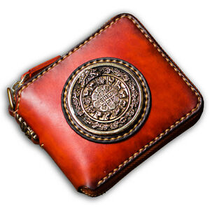 Handmade Clutch Wallet Genuine Tanned Leather Card Holder Fashion Chain Purse