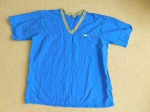 VINTAGE LL BEAN EXTRASPORT NYLON WORKOUT CAMP SHIRT LARGE BRIGHT BLUE EXCELLENT
