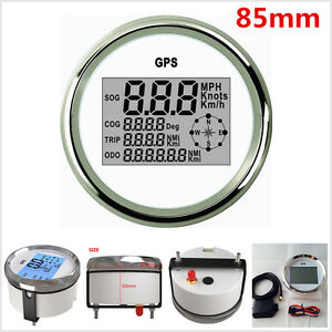85mm Digital GPS Speedometer Odometer Gauge 0~999Knots for 9-32V Auto Car Truck
