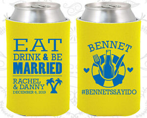 Personalized Wedding Can Holders Custom Holder 423 Eat Drink And Be Married