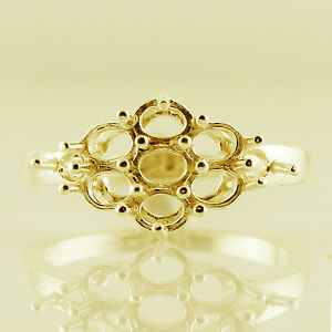 Semi Mount 3x4 MM Oval Shape Cocktail Ring 10k Yellow Gold Exotic Woman Jewelry