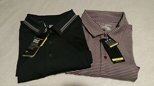 NWTS Mens UNDER ARMOUR 2XL XXL 2 SHIRT LOT  heat gear COLD BLACK Golf Polo New