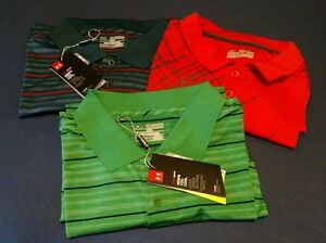 NWT Mens UNDER ARMOUR 2XL XXL 3 SHIRT LOT Cold Black heat gear Golf Polo New