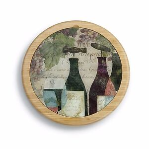 byDesign Wine Bottles Glass Cutting Board & Lazy Susan Combo