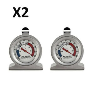 2X Mini Stainless Steel Freezer Refrigerator Thermometer Dial Type Home Kitchen