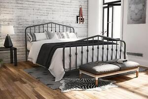 Queen Size Metal Bed Frame Headboard & Footboard Adjustable 2 Base Heights GRAY