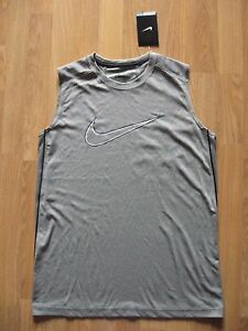 New NIKE DRIFIT Polyester Gray Tank Top Sleeveless Shirt 833713-063 Boys XL