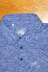 UNDER ARMOUR SH SLEEVE POLO BLUE SPACE DYE HEATHERED CABO GOLF CLUB EC XL LOOSE