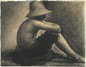Georges Seurat Reproduction: Seated Boy in a Straw Hat - Fine Art Print