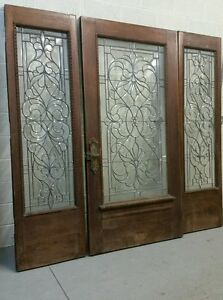 AWESOME HUGE ANTIQUE LEADED BEVELED GLASS ENTRY WAY DOOR AND SIDELIGHTS