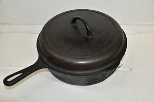 Griswold No 8 777 C Small Logo Cast Iron Chicken Fryer Deep Skillet