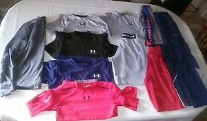 Lot of 11 Boy's Under Armour  Fitted Shirt shorts  & Pants  YMD hoodies