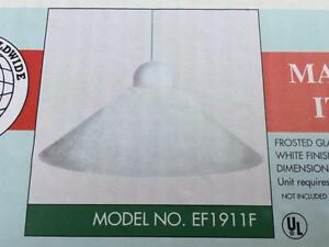 KELLER ITALIAN MADE White Frosted Over the Bar Kitchen Glass Lamp Shade NIB