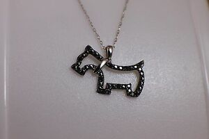 Solid 10K White Gold Dog Black Diamond Pendant Necklace Chain Scottish Terrier