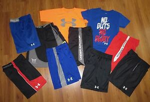 Lot 10 Boys UNDER ARMOUR Loose T-Shirts Extreme Mesh Athletic Shorts YSM Small 8