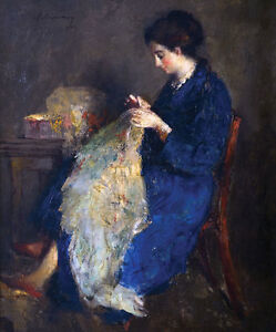 HARALAMBOS POTAMIANOS (1909-1958) Oil on Canvas Knitting Signed Dated 1955