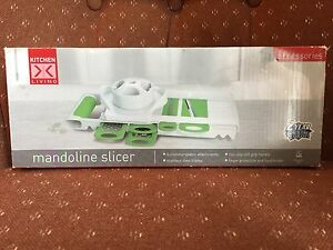 Kitchen Living Mandoline Slicer 5 Attachments SS Blades Soft Grip Handle NIB