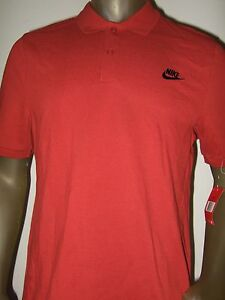 New Men's Large Solid Rust Red Nike Standard Fit Polo Golf Sport Shirt