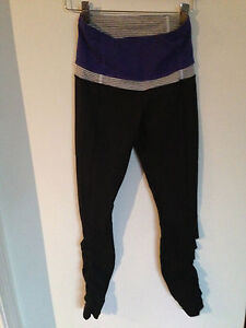 Lululemon Spirit Tights Pants Black Bruised Berry Purple Blue Ruffle Sz 4