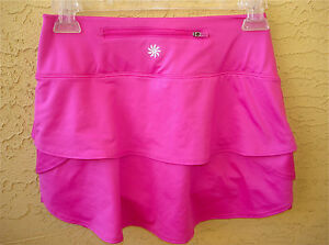 Athleta Pink Ruffle SKORT Skirt with Shorts Zipper Pocket Fitness Womens XXS