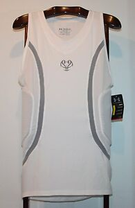 UNDER ARMOUR MPZ PADDED WHITE COMPRESSION BASKETBALL SHIRT SIZE 2XL