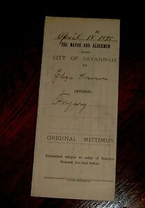 ANTIQUE ARREST WARRANTS FROM CHATHAM COUNTY SAVANNAH GA YEARS 1892-1895