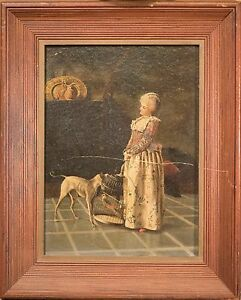 Antique Victorian Oil Painting Woman with Parrot in Birdcage amp; Russell Terrier $650.00