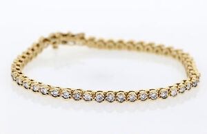 women tennis bracelet 14KT YELLOW GOLD 8