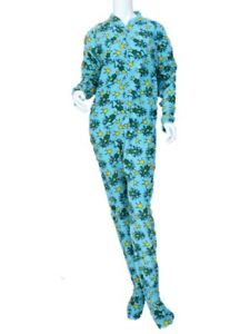 Joe Boxer Womens Blue Fleece Frog Prince Footie PJ Blanket Sleeper Pajama M