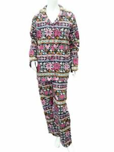 Joe Boxer Womens Black & Pink Heart Flannel Pajama Snowflake Sleep Set PJs S