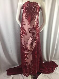 Lace Fabric Embroidered 2 way Stretch Floral Burgundy For Dress By The Yard
