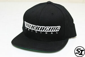 VOLK RACING ORIGINAL RAYS SNAP BACK HAT BLACK WITH GREEN UNDER BRIM TE37 ZE40