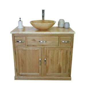 Bathroom Vanity Unit Oak Cabinet Wash Stand Golden Onyx Marble Stone Basin 1161