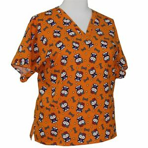 NOVELTY HALLOWEEN PRINTS CUSTOM MADE V-NECK SCRUB TOP NURSING UNIFORMS