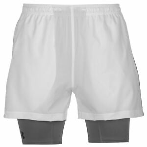 Under Armour Mirage 2 in 1 Shorts Mens WhiteGrey Gym Fitness Sportswear