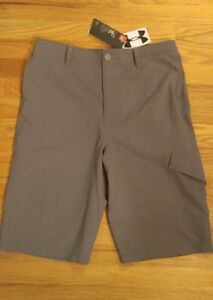 NWT S49.99 Under Armour Boys Match Play Cargo Golf  Shorts   Size XL  GREYGRAY