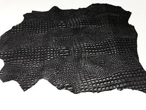 BLACK ALLIGATOR CROCODILE 3D embossed on Italian lambskin leather skins hides