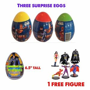 4 New Justice League  PLASTIC SURPRISE EGGS WITH Toy And Candy Bonus Free Figure