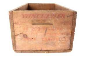 Vintage Old Winchester Small Arms Primers Wood Ammunition Box