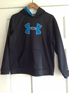 Under Armour Black Blue Storm Fleece Lined Hoodie Sweatshirt Boys XL