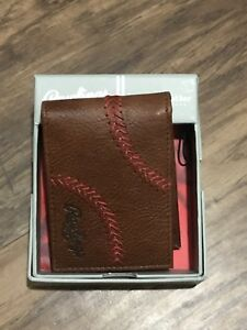 RAWLINGS GENUINE Leather Baseball Stitch Men's Bi-fold WALLET (BROWN) New In Box
