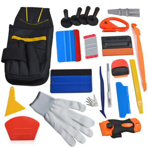 Car Tint Vinyl Wrapping Tools Kit, 4 Magnets Squeegee Bag Gloves Razor Scraper