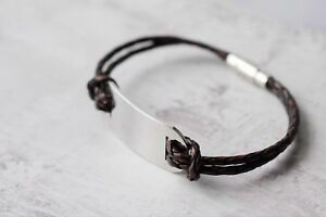 Men's Personalised Leather Bracelet