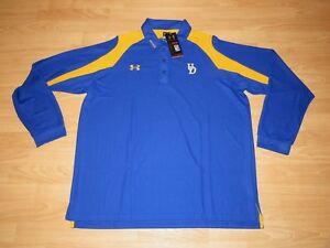 Under Armour Delaware Blue Hens Long Sleeve Polo Shirt Men's Large - Heatgear
