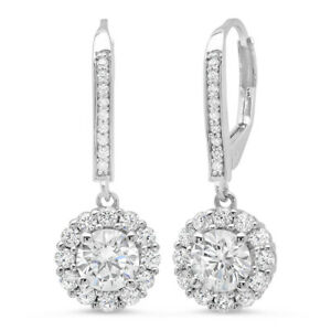 3.55 ct ROUND CUT Solitaire Halo DROP DANGLE LEVERBACK EARRINGS 14K White GOLD